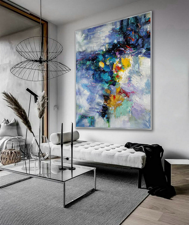 Extra Large Palette Knife Acrylic Painting On Canvas Oversize Vertical Modern Contemporary Wall Art Home Office Decor 60X80Inch / 150X200Cm Xxl,Large Canvas Art Paintings