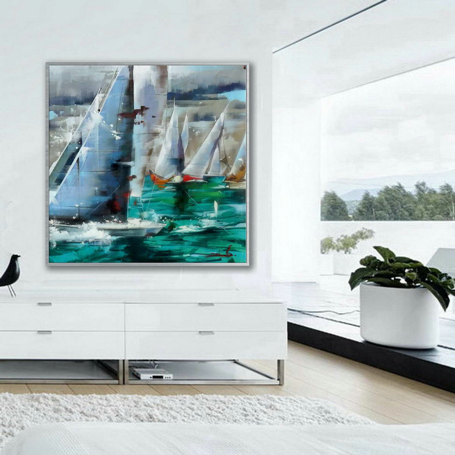 Brush Strokes Contemporary Artwork Extra Large Square Colorful Modern Abstract Oversize Wall Art Sailing Boat Hand Made Canvas Oil Painting,Large Paintings Canada